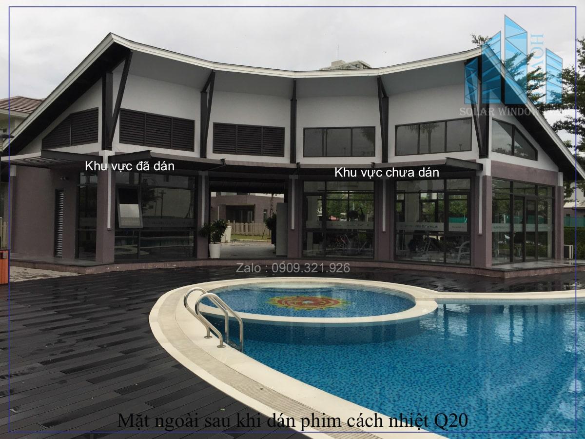 dán phim cách nhiệt q20 màu khói cho biệt thự Thảo Điền quận 2