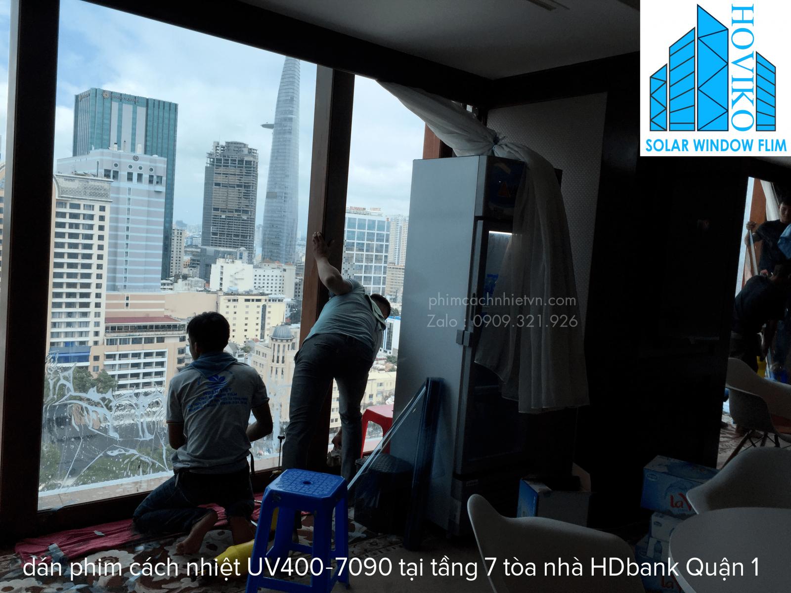 tòa nhà hdbank dán phim cách nhiệt uv400 ir7090